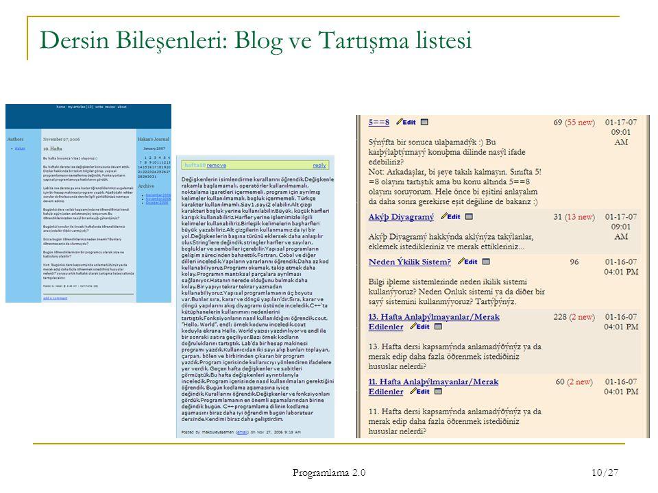 Programlama 2.0 10/27 Dersin Bileşenleri: Blog ve Tartışma listesi