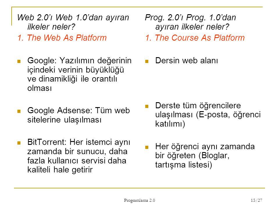 Programlama 2.0 15/27 Web 2.0'ı Web 1.0'dan ayıran ilkeler neler? 1. The Web As Platform Google: Yazılımın değerinin içindeki verinin büyüklüğü ve din