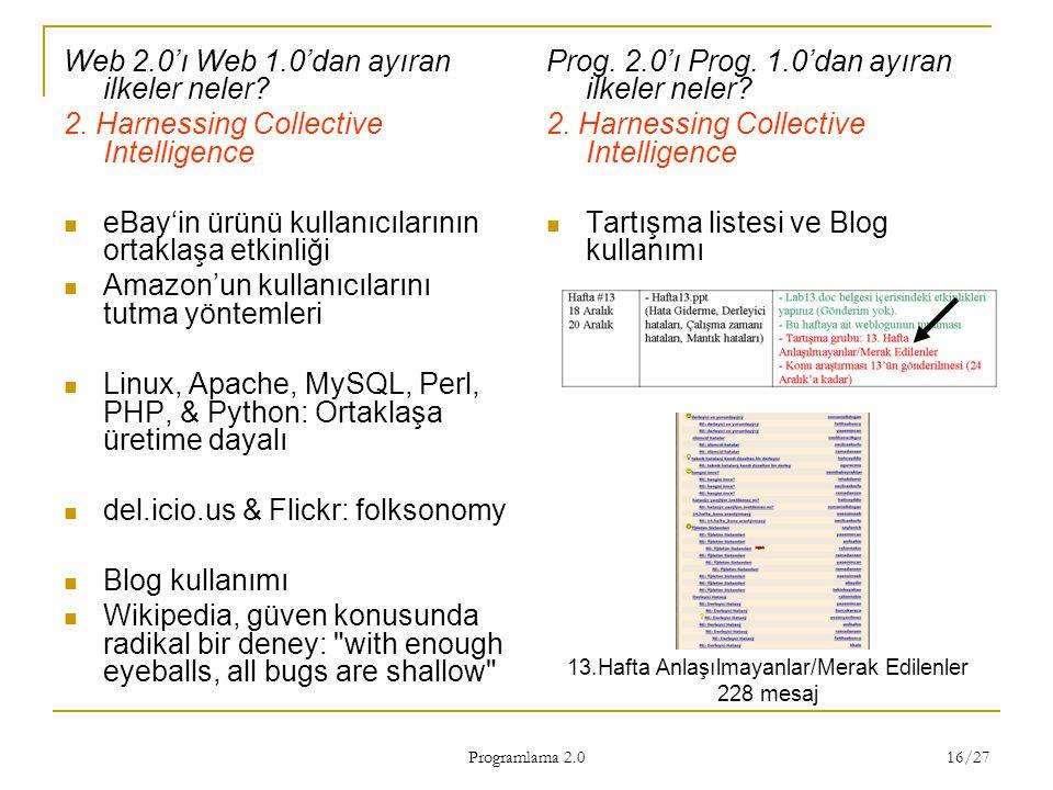 Programlama 2.0 16/27 Web 2.0'ı Web 1.0'dan ayıran ilkeler neler? 2. Harnessing Collective Intelligence eBay'in ürünü kullanıcılarının ortaklaşa etkin