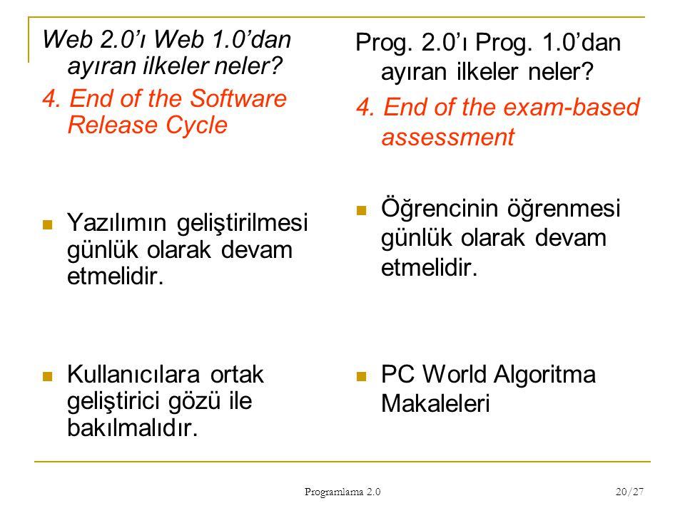 Programlama 2.0 20/27 Web 2.0'ı Web 1.0'dan ayıran ilkeler neler? 4. End of the Software Release Cycle Yazılımın geliştirilmesi günlük olarak devam et