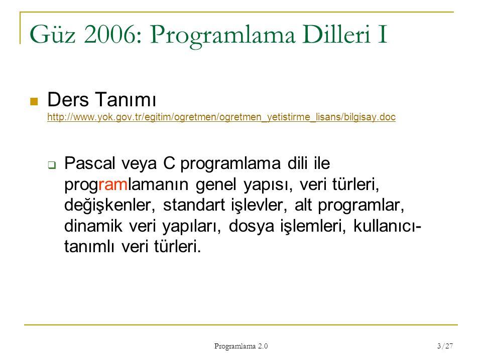 Programlama 2.0 3/27 Güz 2006: Programlama Dilleri I Ders Tanımı http://www.yok.gov.tr/egitim/ogretmen/ogretmen_yetistirme_lisans/bilgisay.doc http://