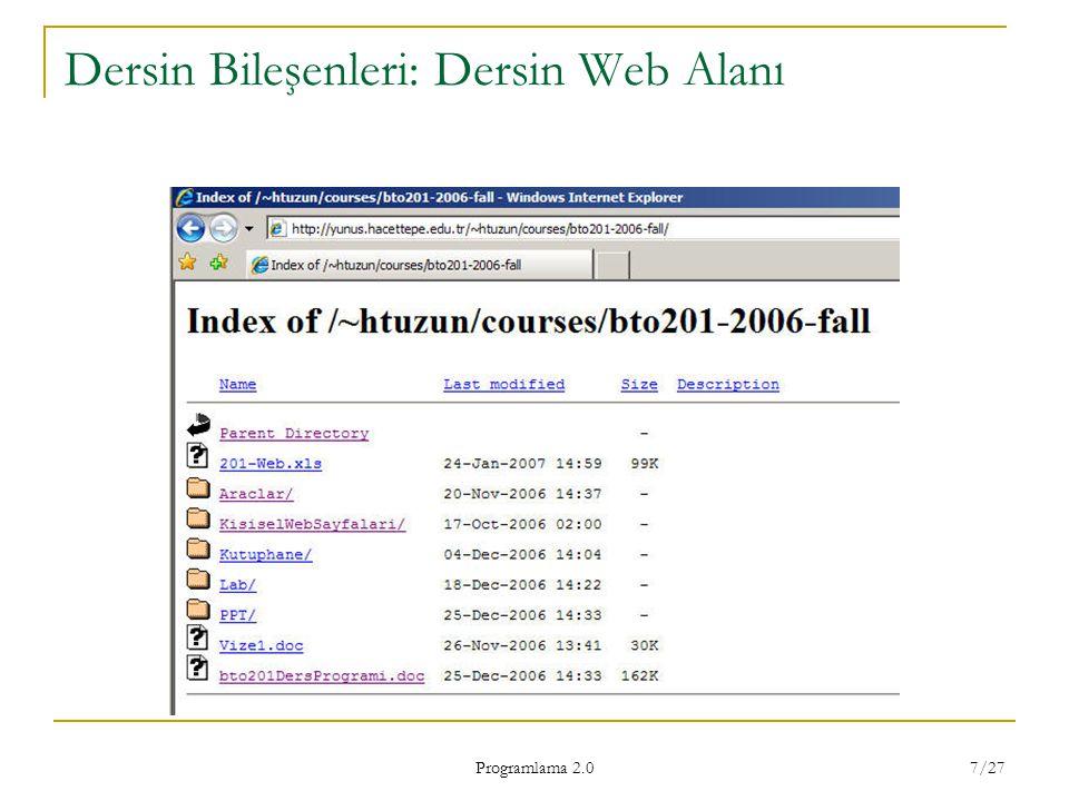 Programlama 2.0 7/27 Dersin Bileşenleri: Dersin Web Alanı