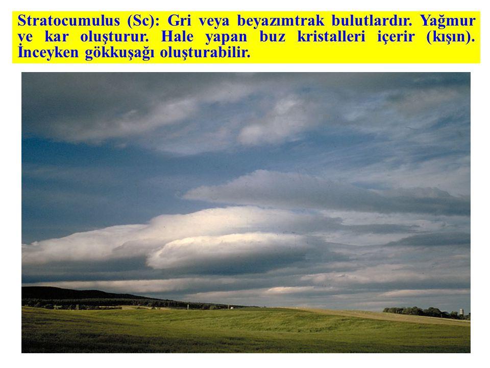 Stratocumulus (Sc): Gri veya beyazımtrak bulutlardır.