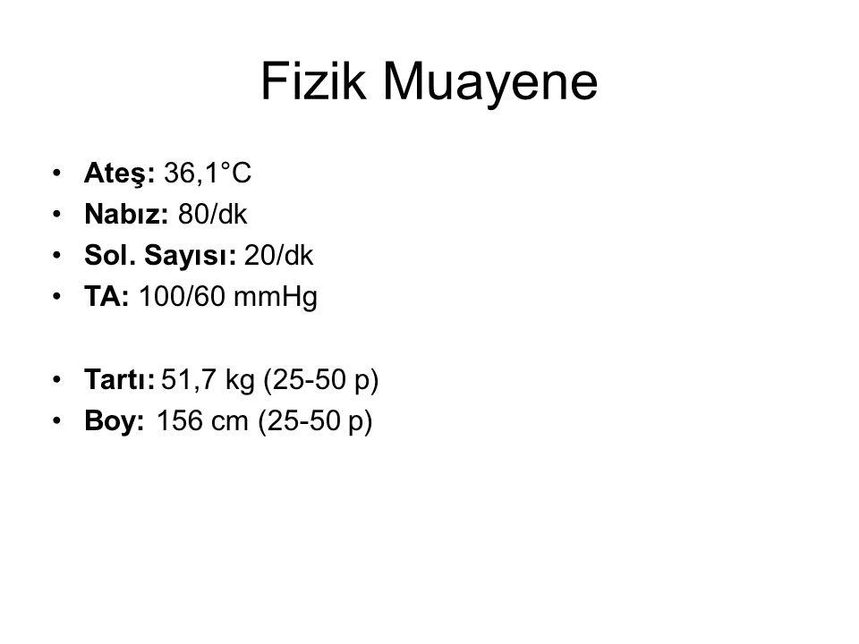 Fizik Muayene Ateş: 36,1°C Nabız: 80/dk Sol.