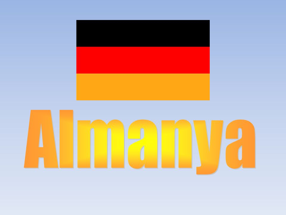 Almanya Yüz ölçümü:357.000 km 2 Nüfusu:83.029.536 İdare şekli:Cumhuriyet Başkenti:Berlin Önemli şehirleri :Hamburg, Münih, Köln, Essen, Frankfurt Dili:Almanca Dini:Hıristiyanlık Para birimi:Euro