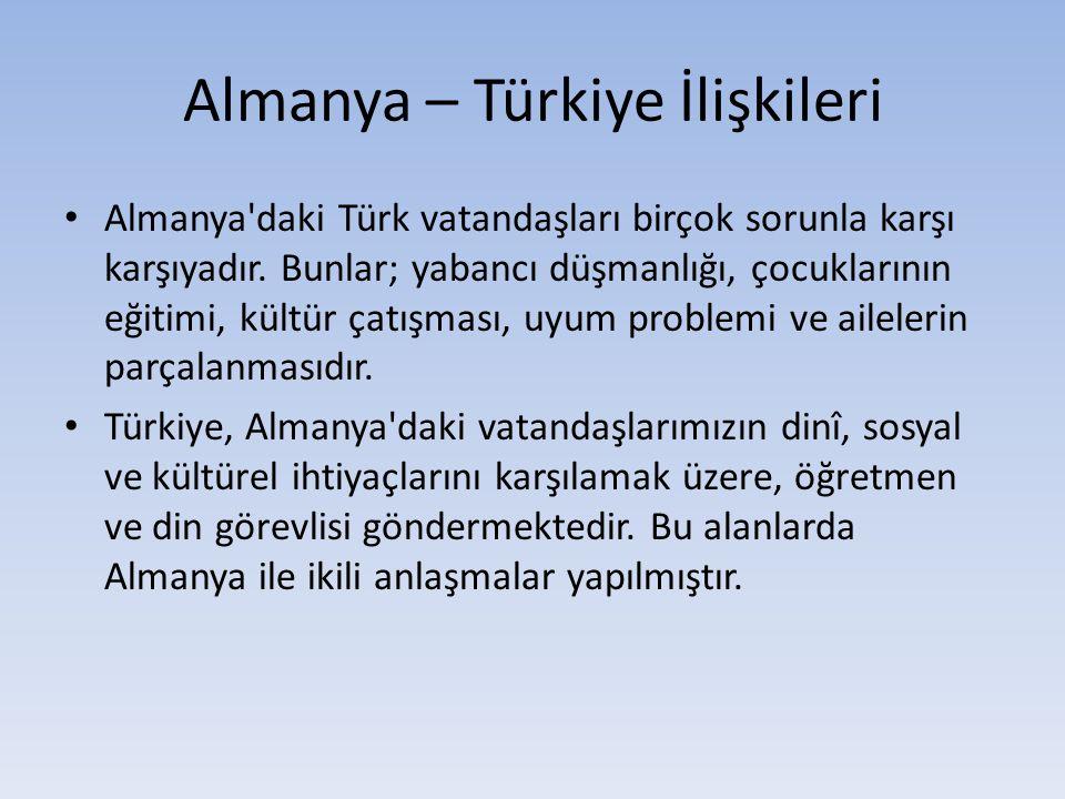 Almanya – Türkiye İlişkileri Almanya'daki Türk vatandaşları birçok sorunla karşı karşıyadır. Bunlar; yabancı düşmanlığı, çocuklarının eğitimi, kültür
