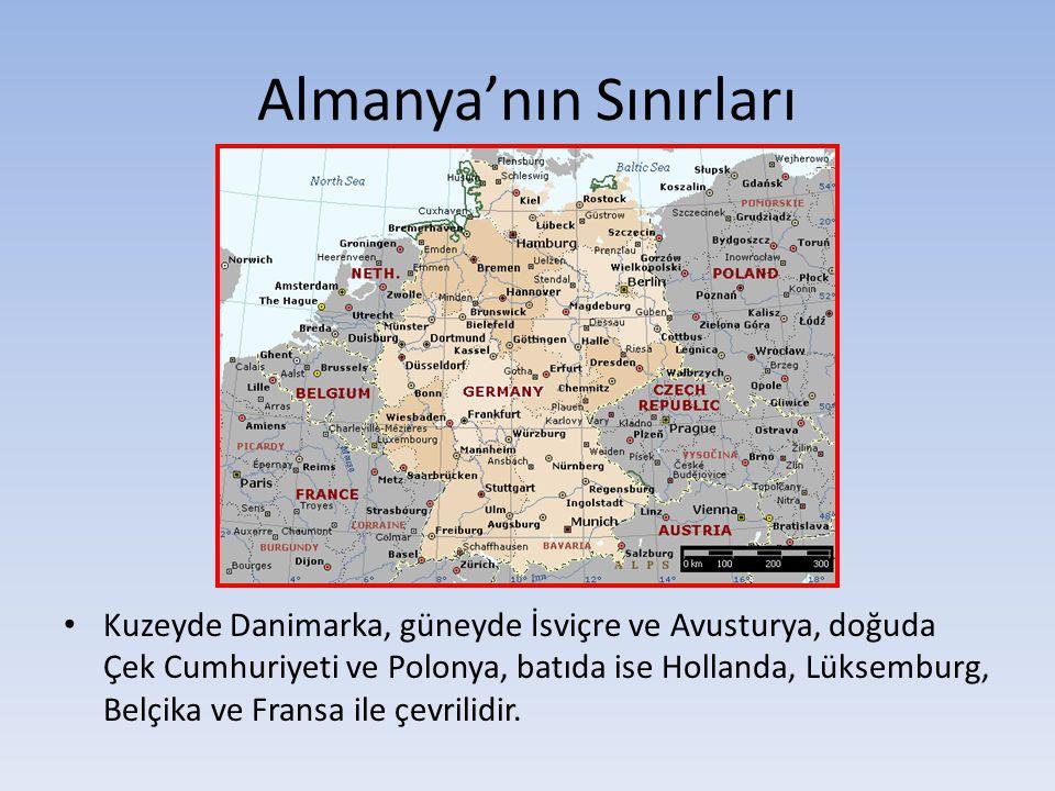 Almanya'nın Sınırları Kuzeyde Danimarka, güneyde İsviçre ve Avusturya, doğuda Çek Cumhuriyeti ve Polonya, batıda ise Hollanda, Lüksemburg, Belçika ve