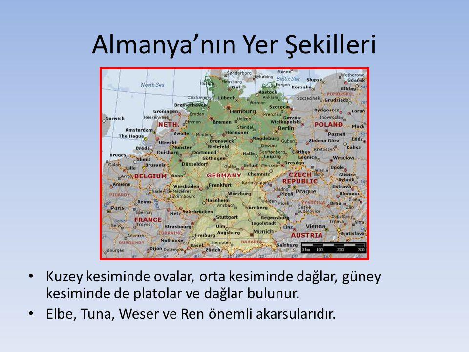 Almanya'nın Yer Şekilleri Kuzey kesiminde ovalar, orta kesiminde dağlar, güney kesiminde de platolar ve dağlar bulunur. Elbe, Tuna, Weser ve Ren öneml