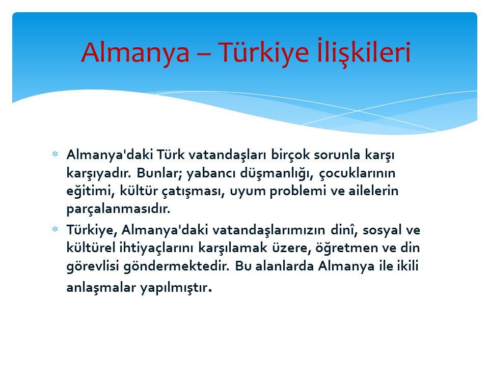  Almanya'daki Türk vatandaşları birçok sorunla karşı karşıyadır. Bunlar; yabancı düşmanlığı, çocuklarının eğitimi, kültür çatışması, uyum problemi ve