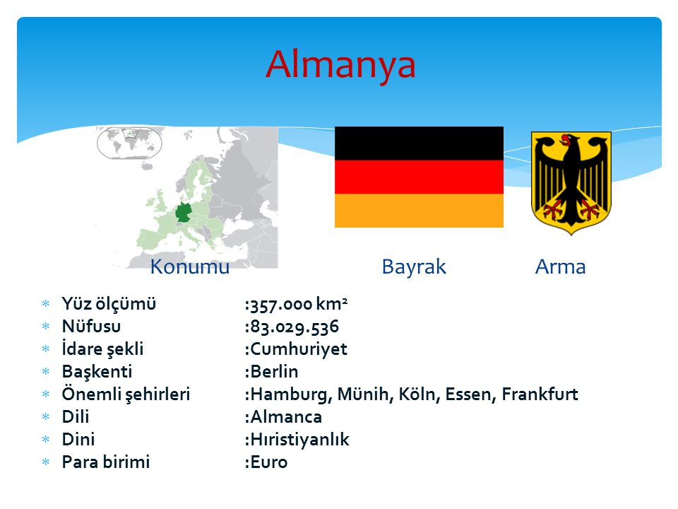 Almanya  Yüz ölçümü:357.000 km 2  Nüfusu:83.029.536  İdare şekli:Cumhuriyet  Başkenti:Berlin  Önemli şehirleri :Hamburg, Münih, Köln, Essen, Fran