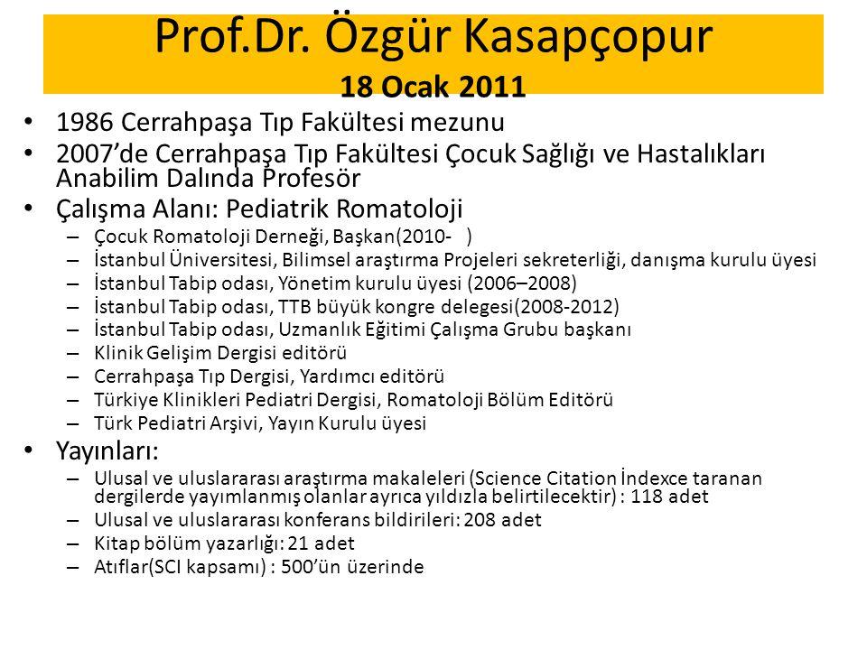 Prof.Dr. Özgür Kasapçopur 18 Ocak 2011 1986 Cerrahpaşa Tıp Fakültesi mezunu 2007'de Cerrahpaşa Tıp Fakültesi Çocuk Sağlığı ve Hastalıkları Anabilim Da