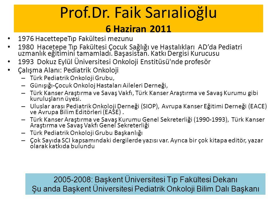 Prof.Dr. Faik Sarıalioğlu 6 Haziran 2011 1976 HacettepeTıp Fakültesi mezunu 1980 Hacetepe Tıp Fakültesi Çocuk Sağlığı ve Hastalıkları AD'da Pediatri u