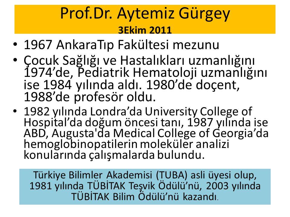 Prof.Dr. Aytemiz Gürgey 3Ekim 2011 1967 AnkaraTıp Fakültesi mezunu Çocuk Sağlığı ve Hastalıkları uzmanlığını 1974'de, Pediatrik Hematoloji uzmanlığını