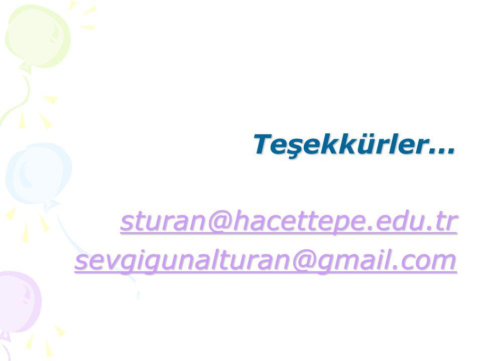 Teşekkürler... sturan@hacettepe.edu.tr sevgigunalturan@gmail.com