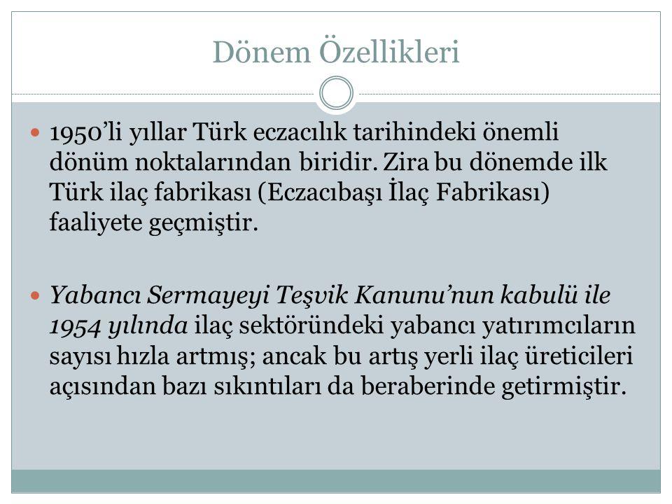 Dönem Özellikleri 1950'li yıllar Türk eczacılık tarihindeki önemli dönüm noktalarından biridir.