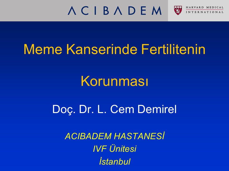 Meme Kanserinde Fertilitenin Korunması Doç. Dr. L. Cem Demirel ACIBADEM HASTANESİ IVF Ünitesi İstanbul