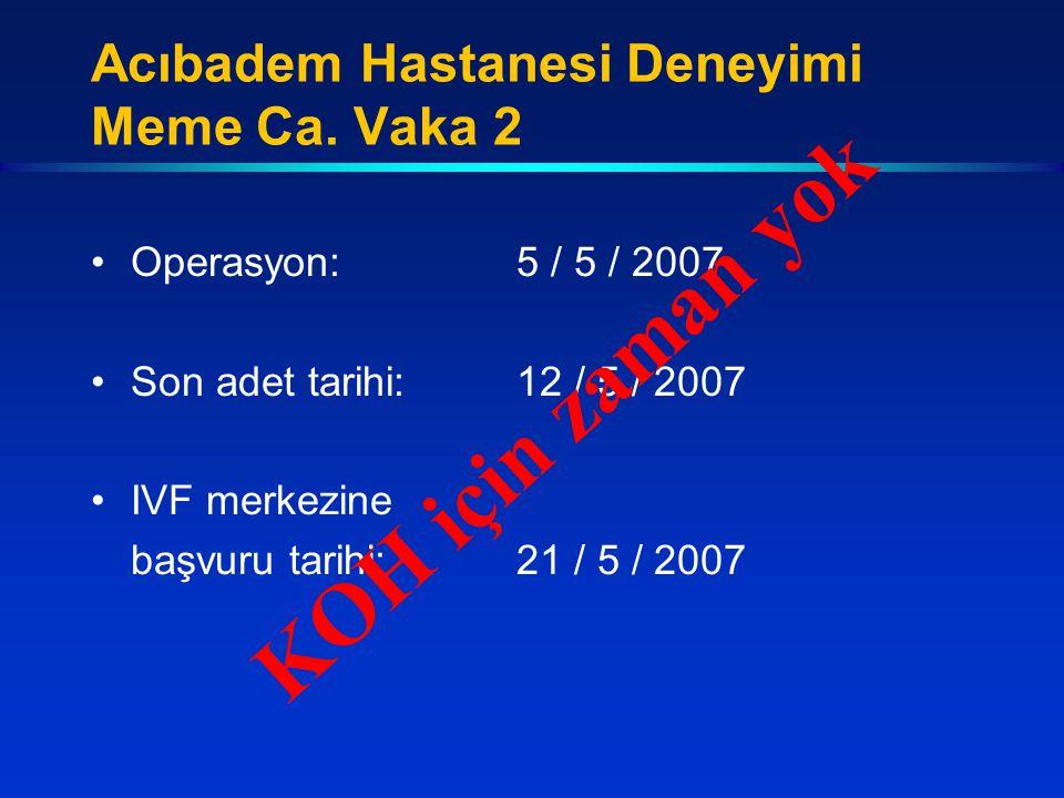 Acıbadem Hastanesi Deneyimi Meme Ca. Vaka 2 Operasyon:5 / 5 / 2007 Son adet tarihi:12 / 5 / 2007 IVF merkezine başvuru tarihi:21 / 5 / 2007 KOH için z