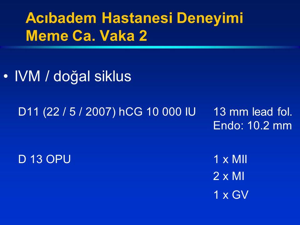 IVM / doğal siklus D11 (22 / 5 / 2007) hCG 10 000 IU13 mm lead fol. Endo: 10.2 mm D 13 OPU1 x MII 2 x MI 1 x GV Acıbadem Hastanesi Deneyimi Meme Ca. V