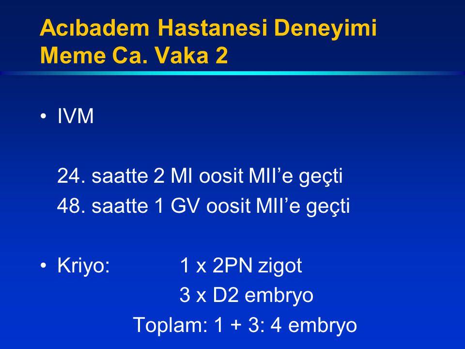 IVM 24. saatte 2 MI oosit MII'e geçti 48. saatte 1 GV oosit MII'e geçti Kriyo:1 x 2PN zigot 3 x D2 embryo Toplam: 1 + 3: 4 embryo Acıbadem Hastanesi D