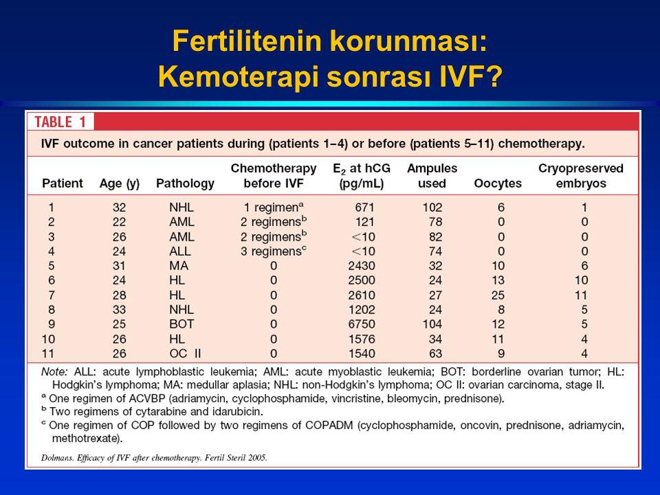 Fertilitenin korunması: Kemoterapi sonrası IVF?