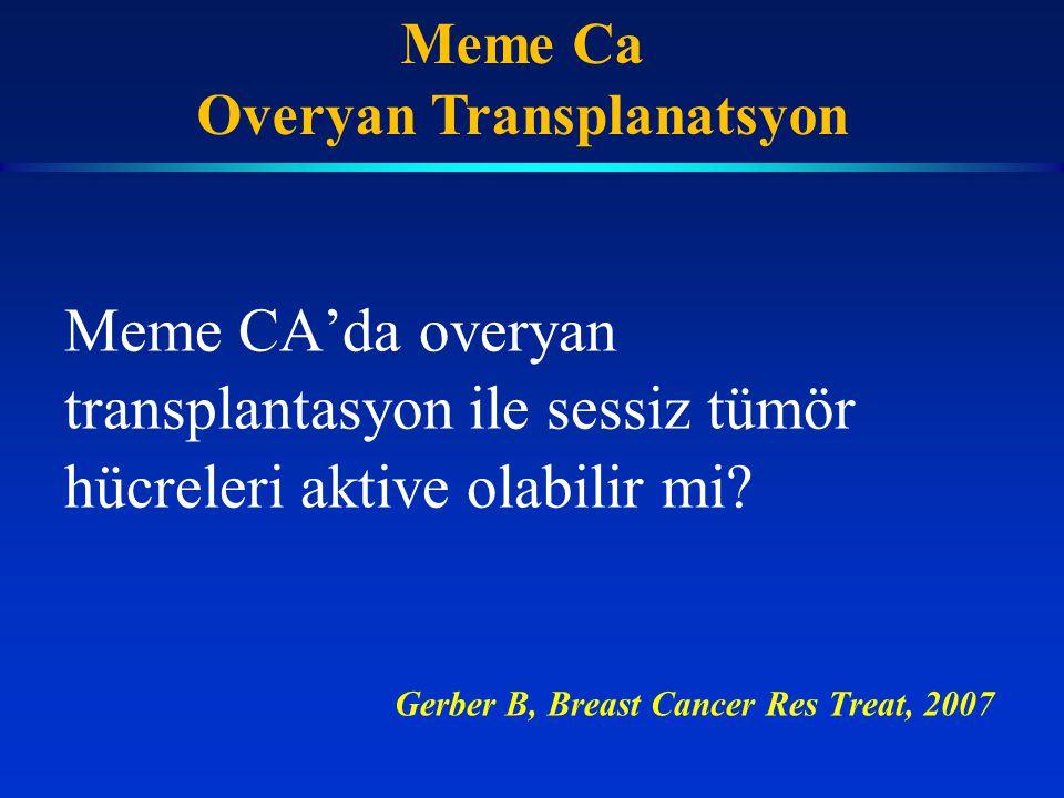Meme CA'da overyan transplantasyon ile sessiz tümör hücreleri aktive olabilir mi? Gerber B, Breast Cancer Res Treat, 2007 Meme Ca Overyan Transplanats