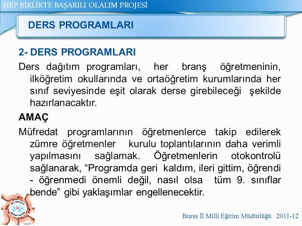 HEP BİRLİKTE BAŞARILI OLALIM PROJESİ Bursa İl Milli Eğitim Müdürlüğü 2011-12 2- DERS PROGRAMLARI Ders dağıtım programları, her branş öğretmeninin, ilk