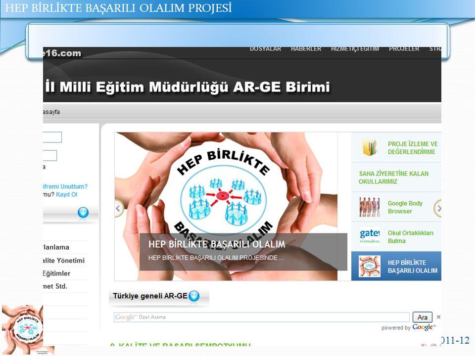 HEP BİRLİKTE BAŞARILI OLALIM PROJESİ Bursa İl Milli Eğitim Müdürlüğü 2011-12