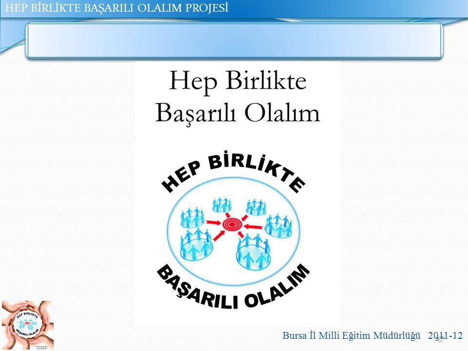 HEP BİRLİKTE BAŞARILI OLALIM PROJESİ Bursa İl Milli Eğitim Müdürlüğü 2011-12 37