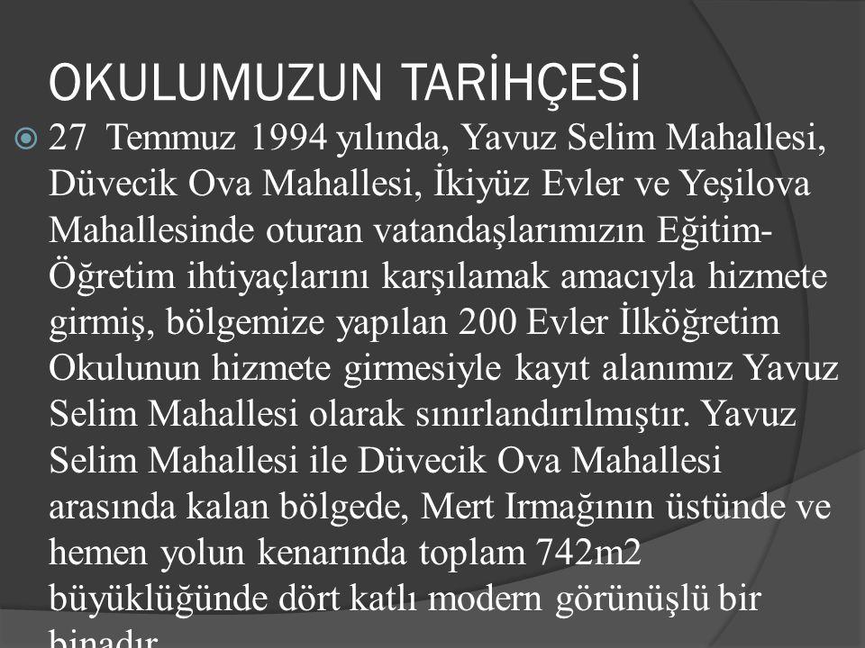 OKULUMUZUN TARİHÇESİ  27 Temmuz 1994 yılında, Yavuz Selim Mahallesi, Düvecik Ova Mahallesi, İkiyüz Evler ve Yeşilova Mahallesinde oturan vatandaşları