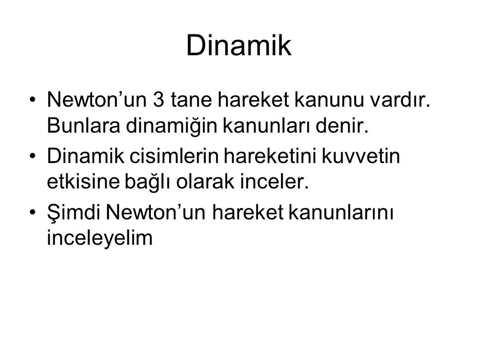 Dinamik Newton'un 3 tane hareket kanunu vardır. Bunlara dinamiğin kanunları denir. Dinamik cisimlerin hareketini kuvvetin etkisine bağlı olarak incele