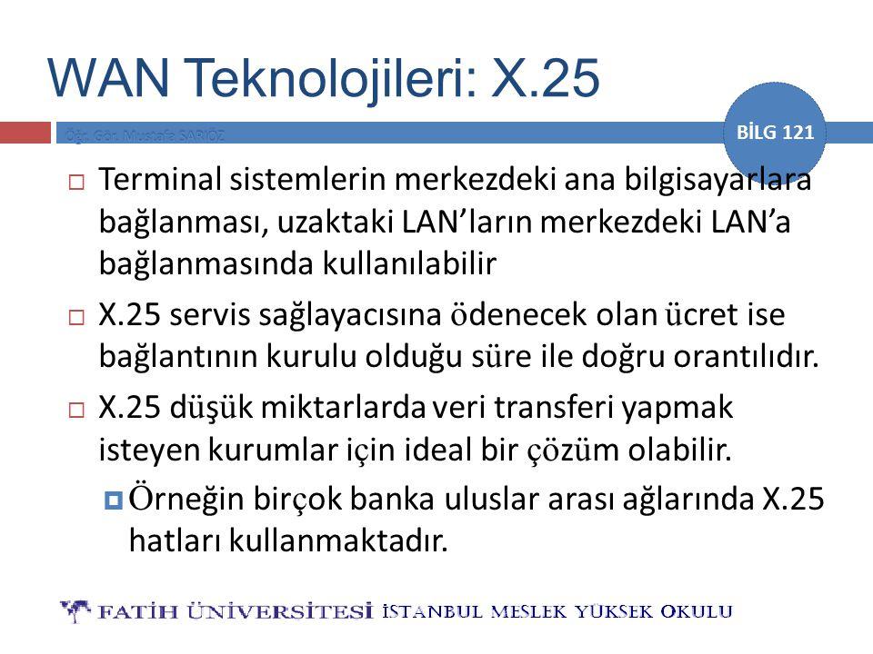 BİLG 121  Terminal sistemlerin merkezdeki ana bilgisayarlara bağlanması, uzaktaki LAN'ların merkezdeki LAN'a bağlanmasında kullanılabilir  X.25 serv