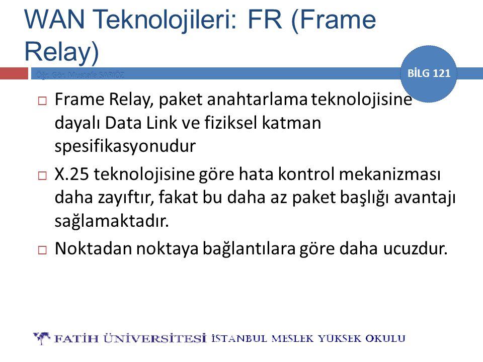 BİLG 121  Frame Relay, paket anahtarlama teknolojisine dayalı Data Link ve fiziksel katman spesifikasyonudur  X.25 teknolojisine göre hata kontrol m