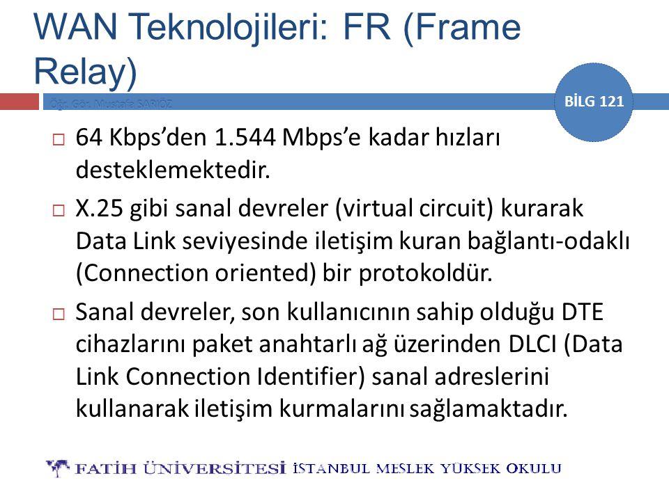 BİLG 121  64 Kbps'den 1.544 Mbps'e kadar hızları desteklemektedir.  X.25 gibi sanal devreler (virtual circuit) kurarak Data Link seviyesinde iletişi