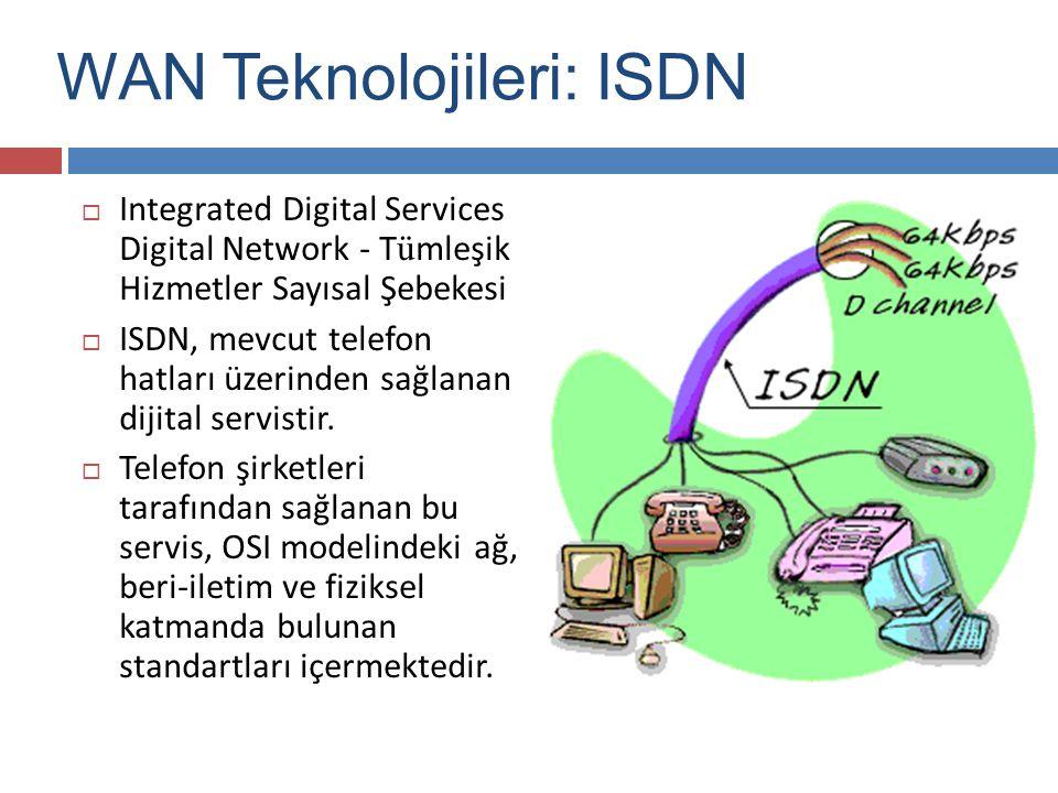  Integrated Digital Services Digital Network - T ü mleşik Hizmetler Sayısal Şebekesi  ISDN, mevcut telefon hatları üzerinden sağlanan dijital servis