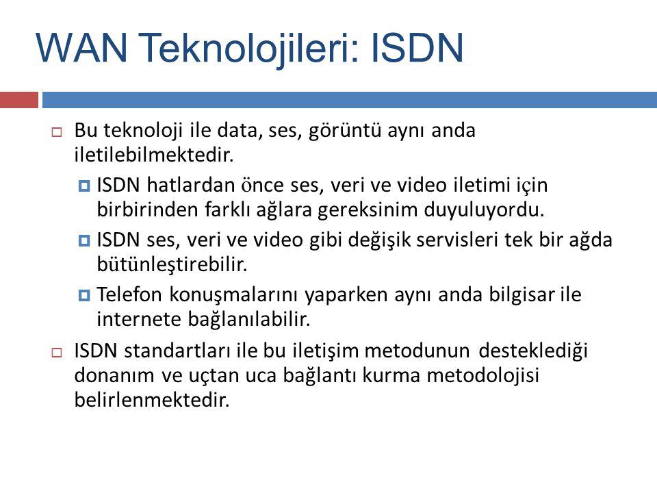  Bu teknoloji ile data, ses, görüntü aynı anda iletilebilmektedir.  ISDN hatlardan ö nce ses, veri ve video iletimi i ç in birbirinden farklı ağlara