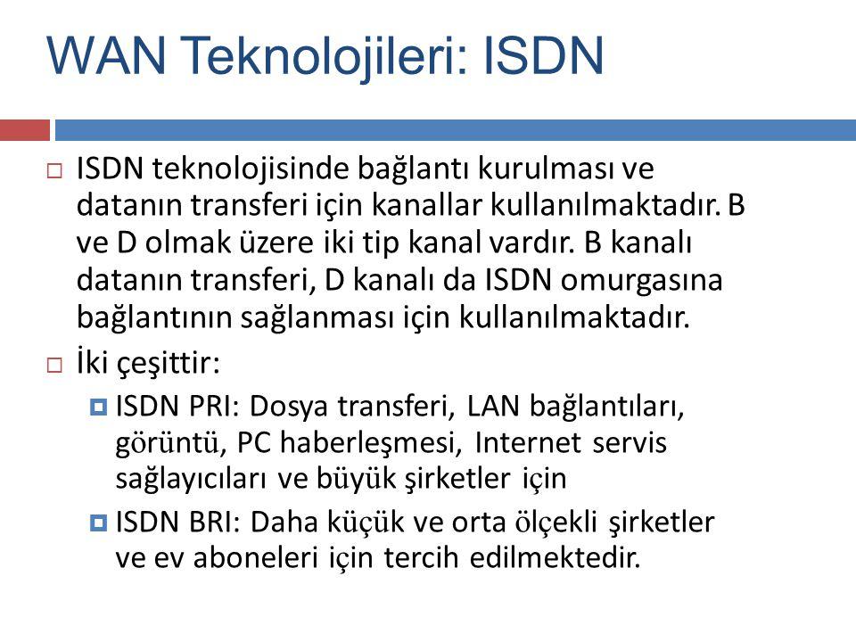  ISDN teknolojisinde bağlantı kurulması ve datanın transferi için kanallar kullanılmaktadır. B ve D olmak üzere iki tip kanal vardır. B kanalı datanı