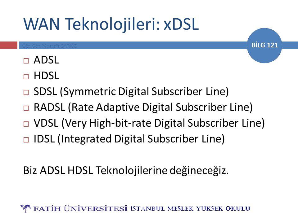 BİLG 121  ADSL  HDSL  SDSL (Symmetric Digital Subscriber Line)  RADSL (Rate Adaptive Digital Subscriber Line)  VDSL (Very High-bit-rate Digital S