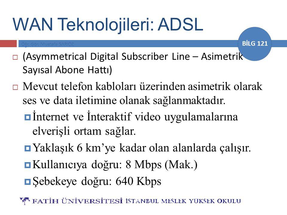 BİLG 121 WAN Teknolojileri: ADSL  (Asymmetrical Digital Subscriber Line – Asimetrik Sayısal Abone Hattı)  Mevcut telefon kabloları üzerinden asimetr