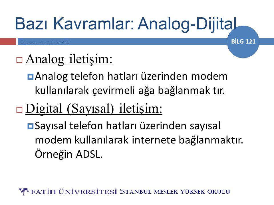 BİLG 121 Bazı Kavramlar: Analog-Dijital  Analog iletişim:  Analog telefon hatları üzerinden modem kullanılarak çevirmeli ağa bağlanmak tır.  Digita
