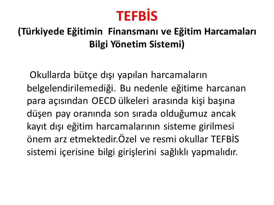TEFBİS (Türkiyede Eğitimin Finansmanı ve Eğitim Harcamaları Bilgi Yönetim Sistemi) Okullarda bütçe dışı yapılan harcamaların belgelendirilemediği. Bu