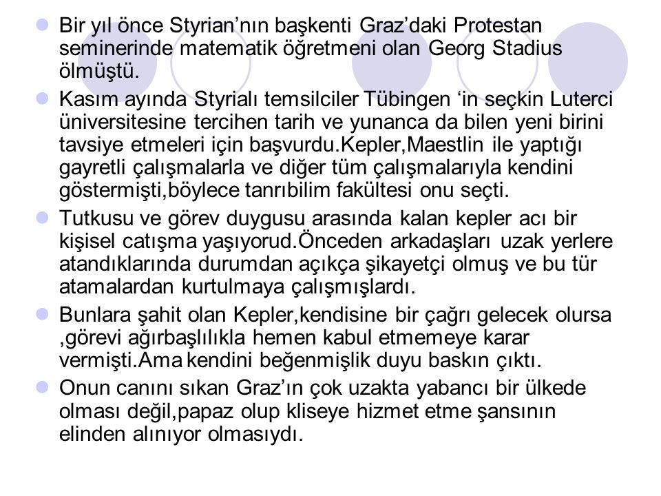 Bir yıl önce Styrian'nın başkenti Graz'daki Protestan seminerinde matematik öğretmeni olan Georg Stadius ölmüştü. Kasım ayında Styrialı temsilciler Tü