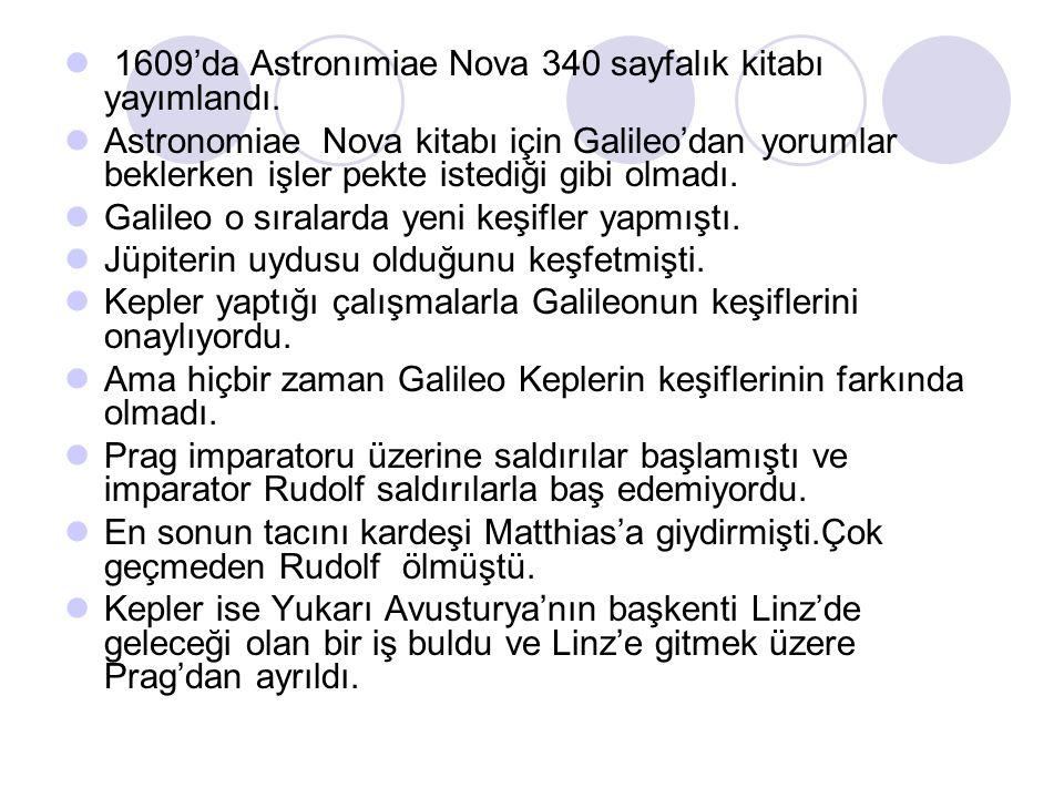 1609'da Astronımiae Nova 340 sayfalık kitabı yayımlandı. Astronomiae Nova kitabı için Galileo'dan yorumlar beklerken işler pekte istediği gibi olmadı.