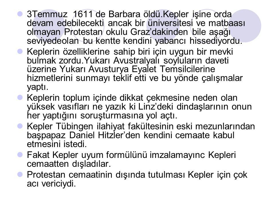 3Temmuz 1611 de Barbara öldü.Kepler işine orda devam edebilecekti ancak bir üniversitesi ve matbaası olmayan Protestan okulu Graz'dakinden bile aşağı