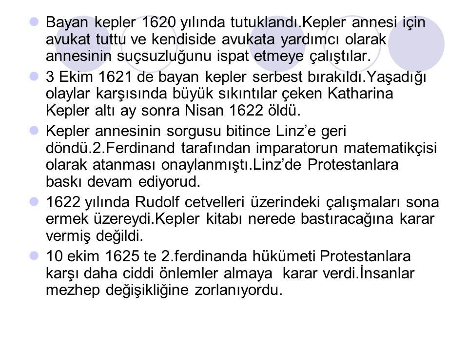 Bayan kepler 1620 yılında tutuklandı.Kepler annesi için avukat tuttu ve kendiside avukata yardımcı olarak annesinin suçsuzluğunu ispat etmeye çalıştıl
