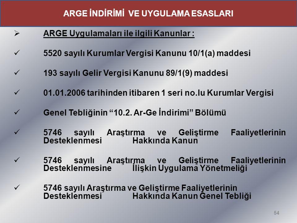  ARGE Uygulamaları ile ilgili Kanunlar : 5520 sayılı Kurumlar Vergisi Kanunu 10/1(a) maddesi 193 sayılı Gelir Vergisi Kanunu 89/1(9) maddesi 01.01.20