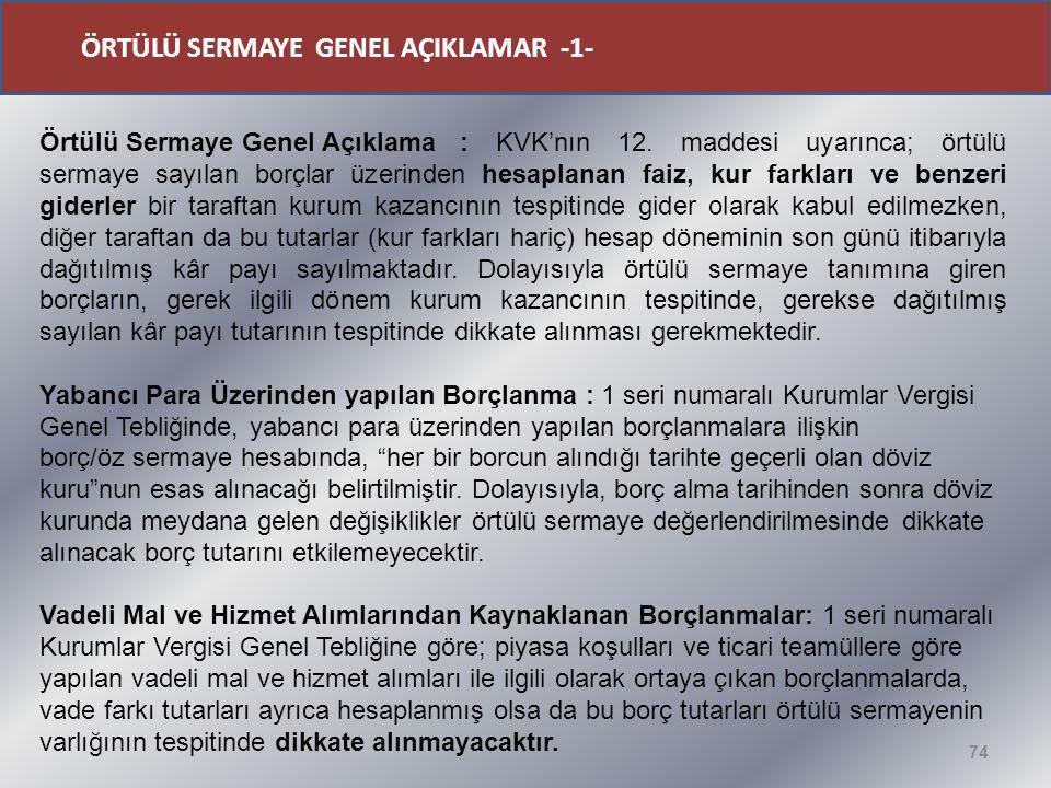 74 Örtülü Sermaye Genel Açıklama : KVK'nın 12.