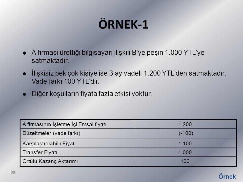ÖRNEK-1 A firması ürettiği bilgisayarı ilişkili B'ye peşin 1.000 YTL'ye satmaktadır. İlişkisiz pek çok kişiye ise 3 ay vadeli 1.200 YTL'den satmaktadı