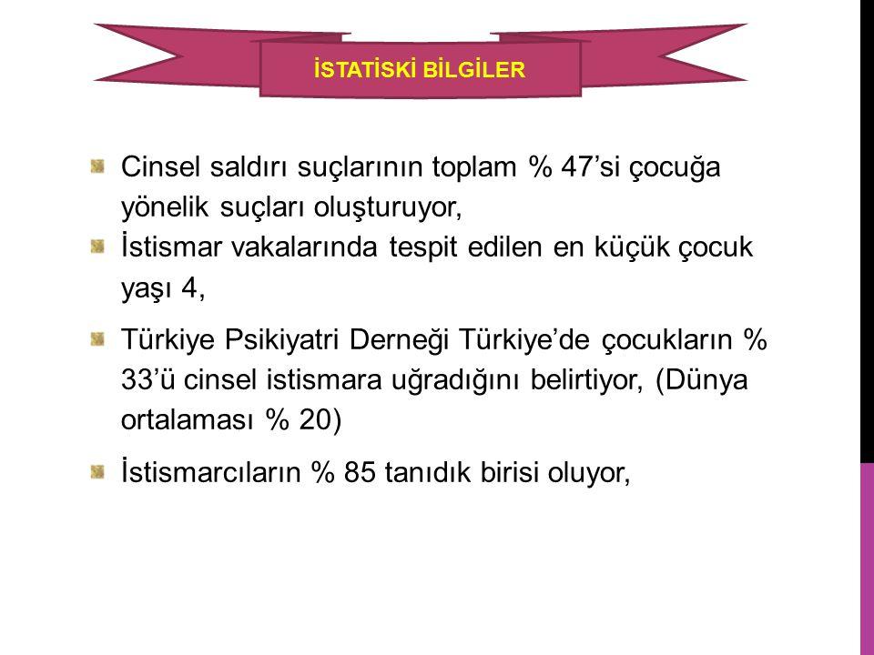 Cinsel saldırı suçlarının toplam % 47'si çocuğa yönelik suçları oluşturuyor, İstismar vakalarında tespit edilen en küçük çocuk yaşı 4, Türkiye Psikiya
