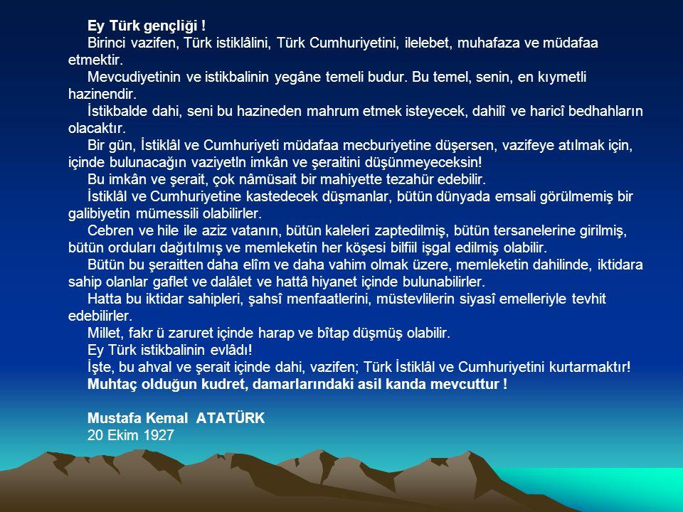 UMUTSUZ DURUM YOKTUR. UMUTSUZ İNSANLAR VARDIR. BEN, HİÇ BİR ZAMAN, UMUDUMU YİTİRMEDİM. Mustafa Kemal ATATÜRK ( 1915 – Çanakkale )