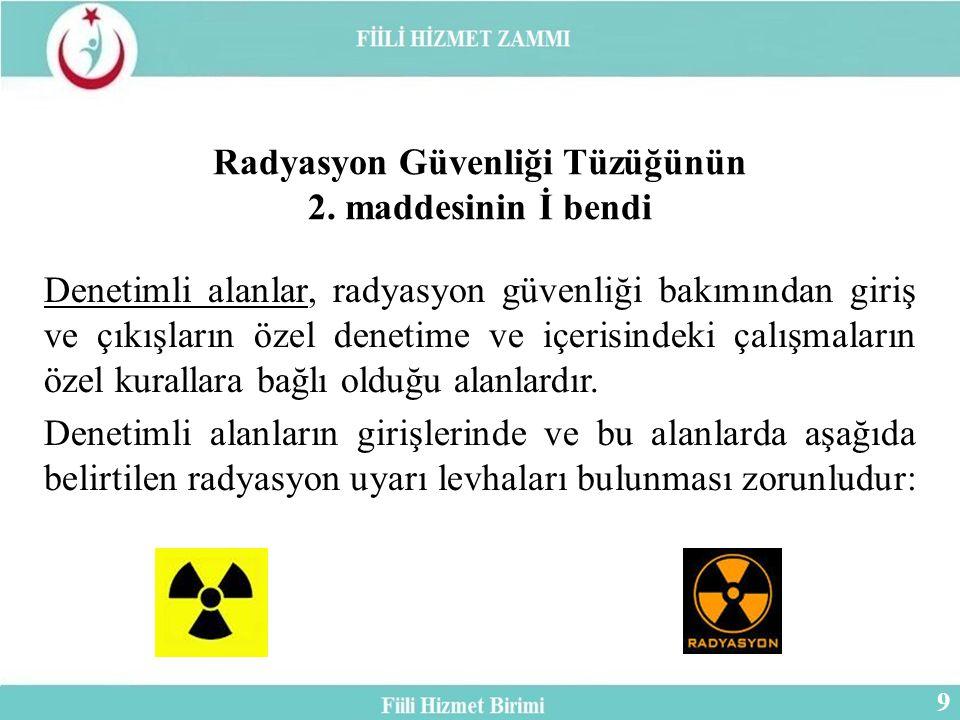 Denetimli alanlar, radyasyon güvenliği bakımından giriş ve çıkışların özel denetime ve içerisindeki çalışmaların özel kurallara bağlı olduğu alanlardır.